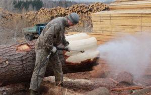 Окорка древесины