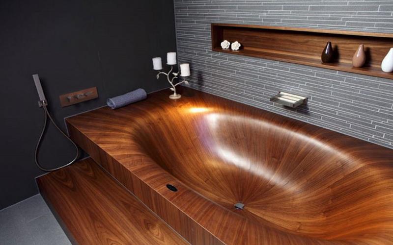 Использование шпона в отделке ванной комнаты
